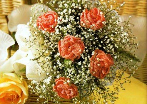 Вязаные цветы крючком со схемами вязания. Красивые вязаные 82