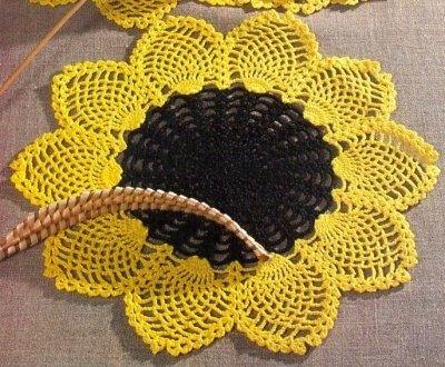 Схема вязания подсолнухов крючком